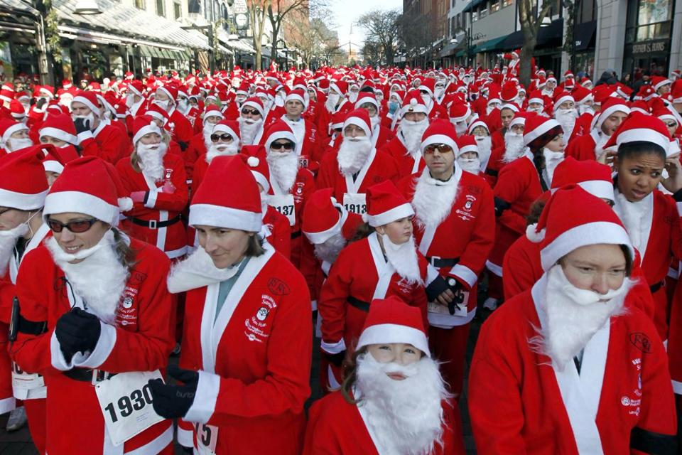 Thousands of Santa-suited runners may muster for the Ri-Ra's Santa 5K Run & Walk in Burlington, Vt., on Dec. 2.